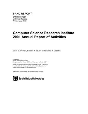 Primary view of object titled 'Computer Science Research Institute 2001 Annual Report of Activities'.