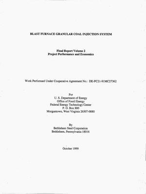 Primary view of object titled 'BLAST FURNACE GRANULAR COAL INJECTION SYSTEM. Final Report Volume 2: Project Performance and Economics'.