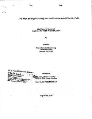 Primary view of object titled 'Yield strength anomaly and the environmental effect in FeAl. Final report for the period September 1, 1996 - August 31, 2000'.
