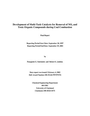 Primary view of object titled 'DEVELOPMENT OF MULTI-TASK CATALYSTS FOR REMOVAL OF NOx AND TOXIC ORGANIC COMPOUNDS DURING COAL COMBUSTION'.
