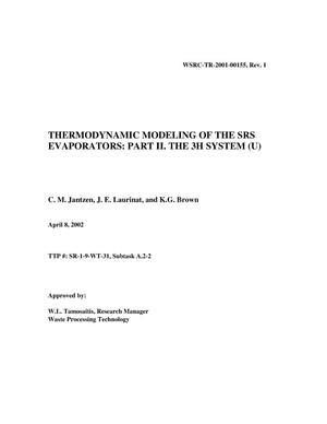 Primary view of object titled 'Thermodynamic Modeling of the SRS Evaporators: Part II. The 3H System'.