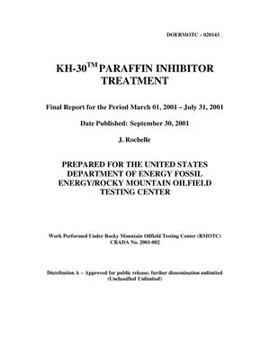 Primary view of object titled 'KH-30 Parafin Inhibitor Treatment'.