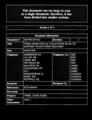 Primary view of object titled 'Tank Farm Contractor Operation and Utilization Plan [SEC 1 Thru 3]'.