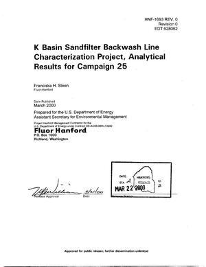 K Basin Sandfilter Backwash Line Characterization Project Analytical