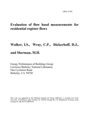 Primary view of object titled 'Evaluation of flow hood measurements for residential register flows'.