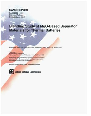 Primary view of object titled 'Blending Study of MgO-Based Separator Materials for Thermal Batteries'.