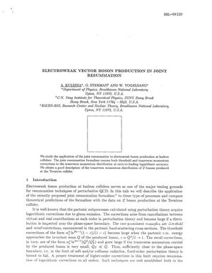 Primary view of object titled 'ELECTROWEAK VECTOR BOSON PRODUCTION IN JOINT RESUMMATION.'.