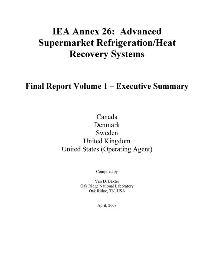 iea annex 26 advanced supermarket refrigeration heat recovery