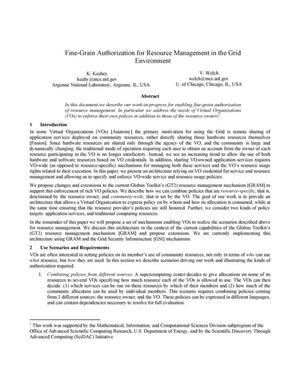 Primary view of object titled 'Fine-grain authorization for resource management in the Grid environment'.
