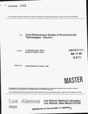 Primary view of object titled 'Cost effectiveness studies of environmental technologies: Volume 1'.