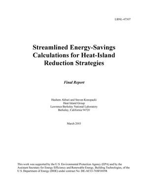 Primary view of object titled 'Streamlined energy-savings calculations for heat-island reduction strategies'.