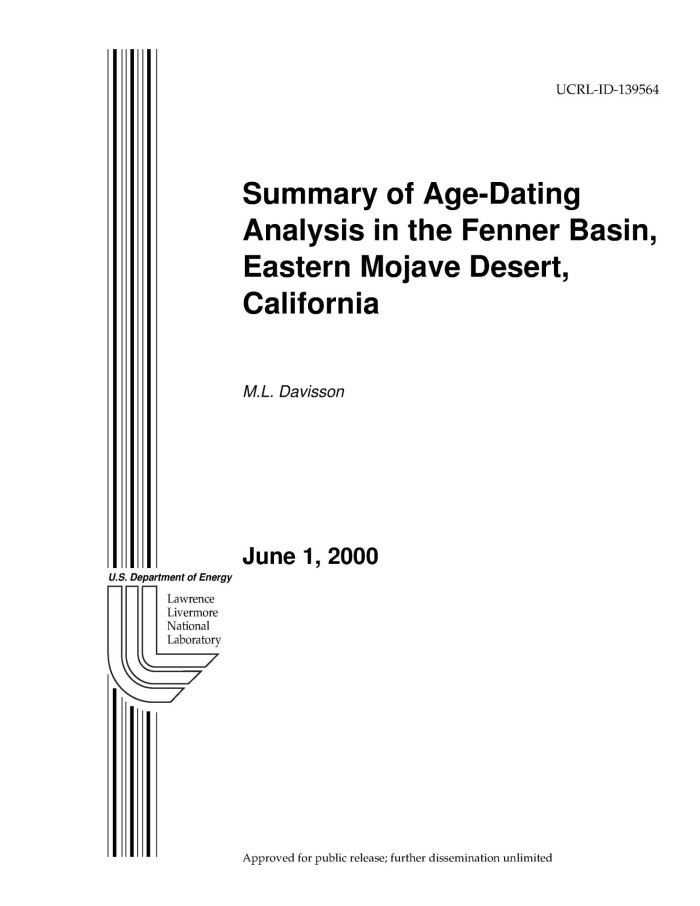 Summary of Age-Dating Analysis in the Fenner Basin, Eastern Mojave