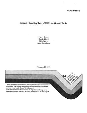 Primary view of object titled 'Impurity leaching rates of 1000 liter growth tanks'.