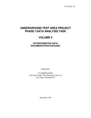 Primary view of object titled 'Underground Test Area Subproject Phase I Data Analysis Task. Volume II - Potentiometric Data Document Package'.