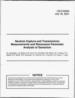 Primary view of object titled 'Neutron Capture and Transmission Measurements and Resonance Parameter Analysis of Samarium'.
