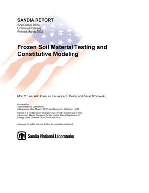 Primary view of object titled 'Frozen Soil Material Testing and Constitutive Modeling'.