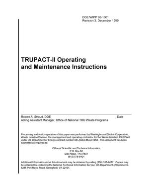 Primary view of object titled 'TRUPACT-II Operating and Maintenance Instructions'.