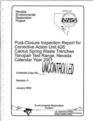 Primary view of object titled 'Post-Closure Inspection Report for Corrective Action Unit 426: Cactus Spring Waste Trenches Tonopah Test Range, Nevada Calendar Year 2001'.