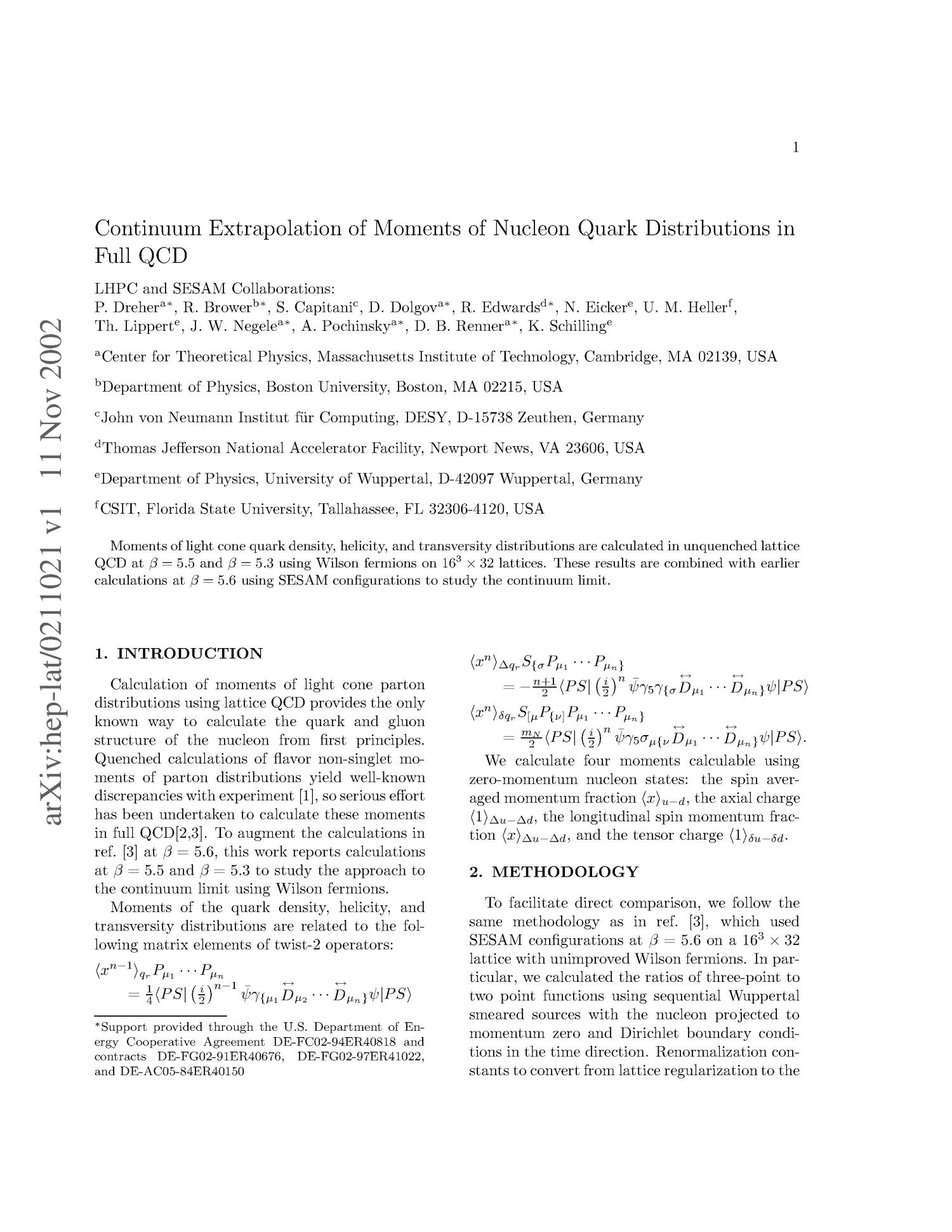 Continuum Extrapolation of Moments Nucleon Quark Distributions in Full QCD                                                                                                      [Sequence #]: 1 of 3