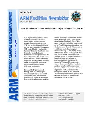 Primary view of object titled 'Atmospheric Radiation Measurement Program facilities newsletter, July 2003.'.