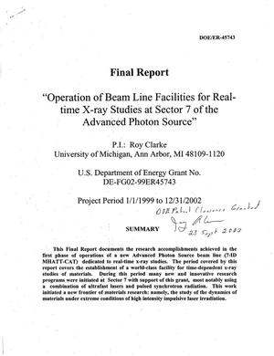 Primary view of object titled 'Operation of beam line facilities for real-time x-ray studies at Sector 7 of the advanced photon source. Final Report'.
