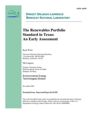 Primary view of object titled 'The renewables portfolio standard in Texas: An early assessment'.