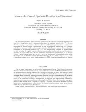 Primary view of object titled 'Moments for general quadratic densities in n dimensions'.