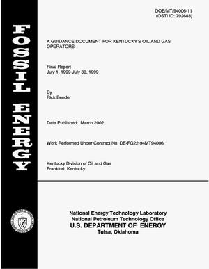 Primary view of object titled 'A Guidance Document for Kentucky's Oil and Gas Operators'.