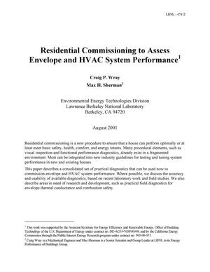 Primary view of object titled 'Residential commissioning to assess envelope and HVAC system performance'.