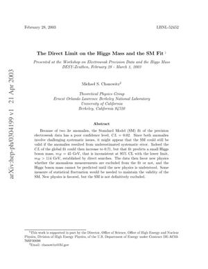 Primary view of object titled 'The direct limit on the Higgs Mass and the SM Fit'.