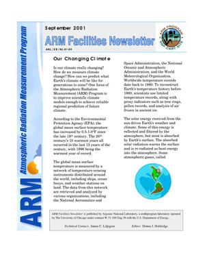 Primary view of object titled 'Atmospheric radiation measurement program facilities newsletter, September 2001.'.