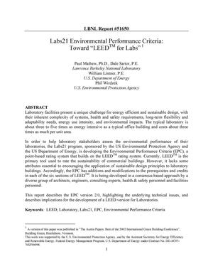 Primary view of object titled 'Labs21 Environmental Performance Criteria: Toward 'LEED (trademark) for Labs''.