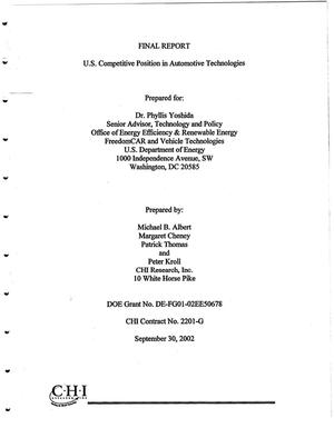Primary view of object titled 'Final report: U.S. competitive position in automotive technologies'.