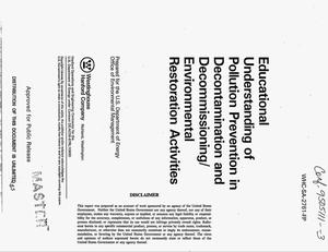 Primary view of object titled 'Educational understanding of pollution prevention in decontamination and decommissioning/environmental restoration activities'.