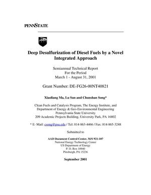 Primary view of object titled 'DEEP DESULFURIZATION OF DIESEL FUELS BY A NOVEL INTEGRATED APPROACH'.