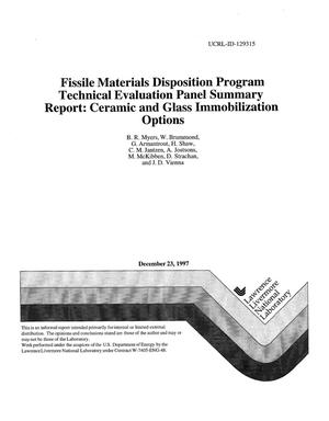 Primary view of object titled 'Technical evaluation panel summary report: ceramic and glass immobilization options fissile materials disposition program'.