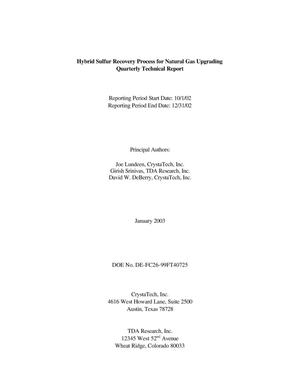 Primary view of object titled 'HYBRID SULFUR RECOVERY PROCESS FOR NATURAL GAS UPGRADING'.