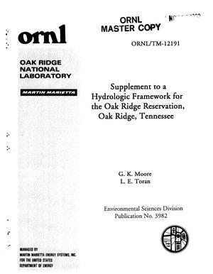 Primary view of object titled 'Supplement to a Hydrologic Framework for the Oak Ridge Reservation, Oak Ridge, Tennessee'.