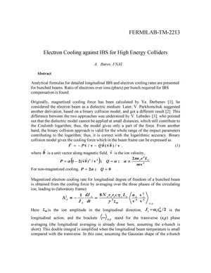Primary view of object titled 'Electron cooling against IBS for high energy colliders'.