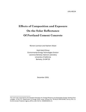 Primary view of object titled 'Effects of composition and exposure on the solar reflectance of Portland cement concrete'.
