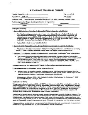 Primary view of object titled 'Corrective Action Investigation Plan for Corrective Action Unit 516: Septic Systems and Discharge Points, Nevada Test Site, Nevada, Rev. 0, Including Record of Technical Change No. 1'.
