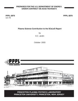 Primary view of object titled 'Plasma Science Contribution to the SCaLeS Report'.