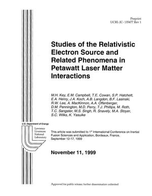 Primary view of object titled 'Studies of the Relativistic Electron Source and Related Phenomena in Petawatt Laser Matter Interactions'.