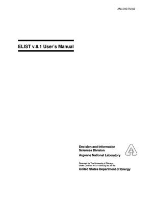 Primary view of object titled 'ELIST v.8.1 : User's Manual.'.