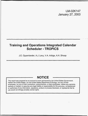 Primary view of object titled 'Training and Operations Integrated Calendar Scheduler - TROPICS'.