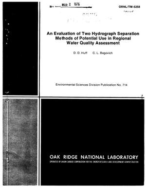 Primary view of object titled 'An Evaluation of Two Hydrograph Separation Methods of Potential Use in Regional Water Quality Assessment'.