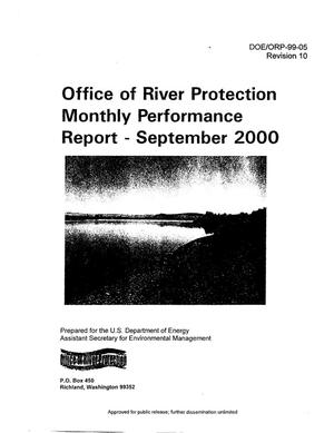 Primary view of object titled 'Office of River Protection (ORP) Monthly Performance Report for September 2000'.