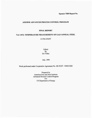 Primary view of object titled 'AISI/DOE Advanced Process Control Program Vol. 6 of 6: Temperature Measurement of Galvanneal Steel'.