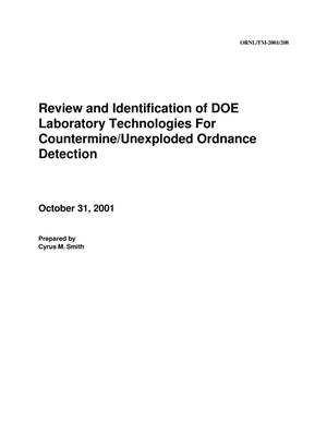 Primary view of object titled 'Review and Identification of DOE Laboratory Technologies for Countermine/Unexploded Ordnance Detection'.