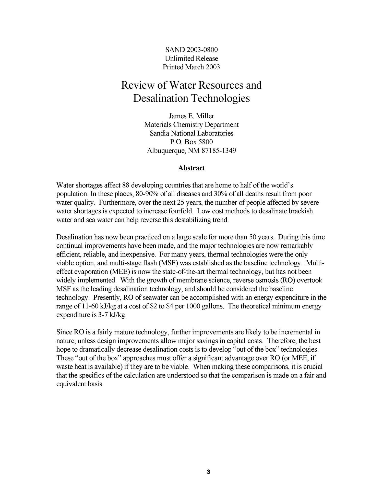 Review of Water Resources and Desalination Technologies Page 3
